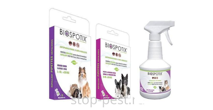 Капли и спрей от клещей для собак BIOSPOTIX