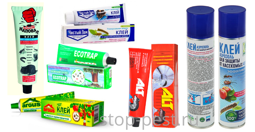 Примеры клея от насекомых и грызунов различных торговых  марок