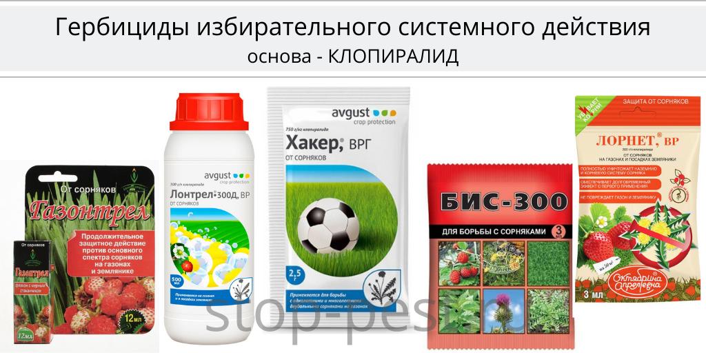 Примеры гербицидов избирательного системного действия на основе клопиралида