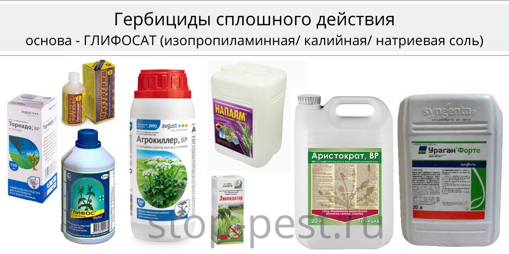 Примеры гербицидов сплошного действия на основе глифосата