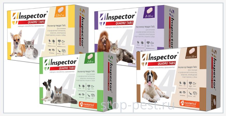 Инспектор Квадро Табс для собак и кошек от клещей (инструкция, назначения, противопоказания)